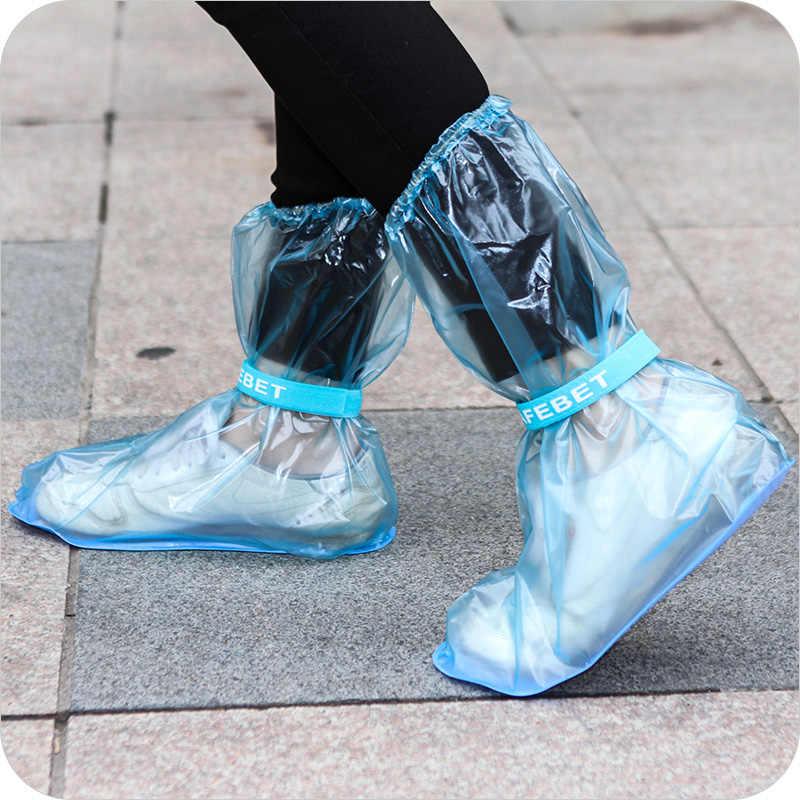 Kotlikoff Dua Pasang Dapat Digunakan Kembali Overshoes Wanita/Pria/Anak Tebal Tahan Air Boots Siklus Hujan Flat Anti Slip Sendok Overshoes