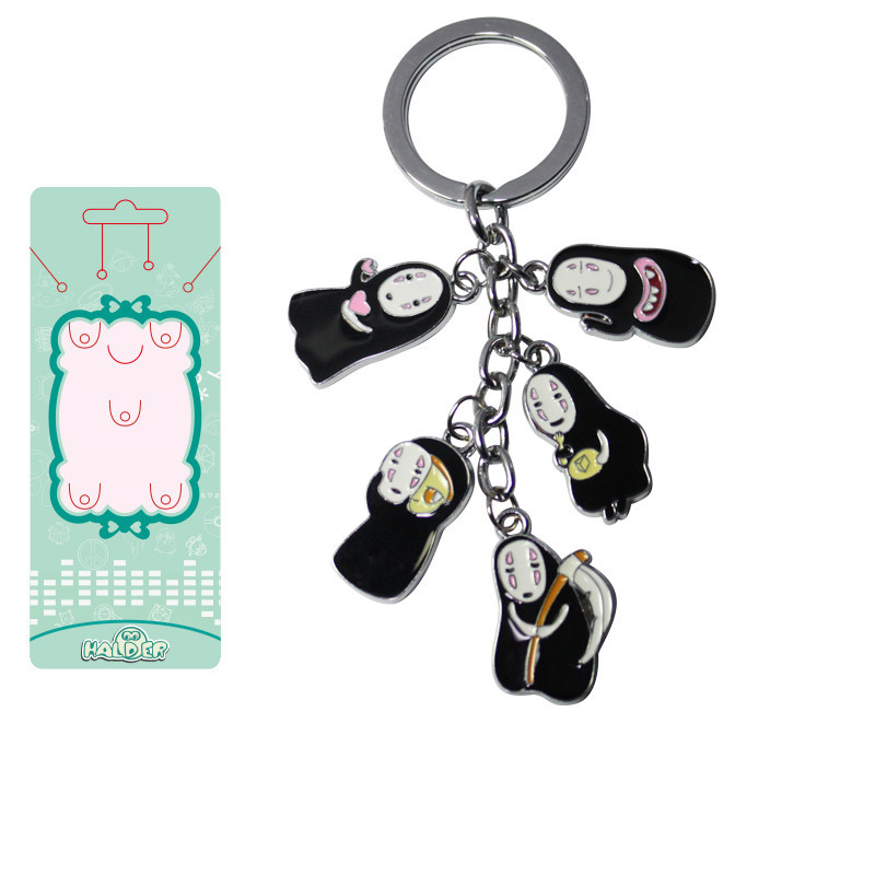 <font><b>Spirited</b></font> <font><b>Away</b></font> Action <font><b>Figure</b></font> Toys 2.6 cm No Face Man Metal Model Dolls Anime Toys Keychain Pendant For Kids Gift image