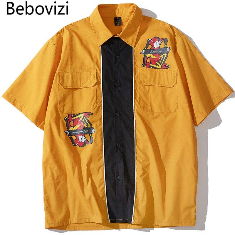 Bebovizi Patchwork Clown impression chemises 2019 Swag Hipster à manches courtes hawaïen chemises hommes Hip Hop Streetwear décontracté chemises jaunes