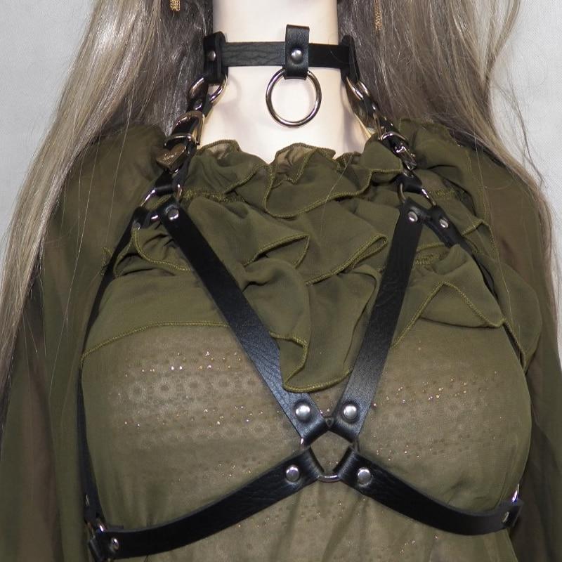 2018 Fashion gothic sexy chain bra chain leather choker necklace Harajuku punk metal round choker collar dress Straps Suspenders цена 2017