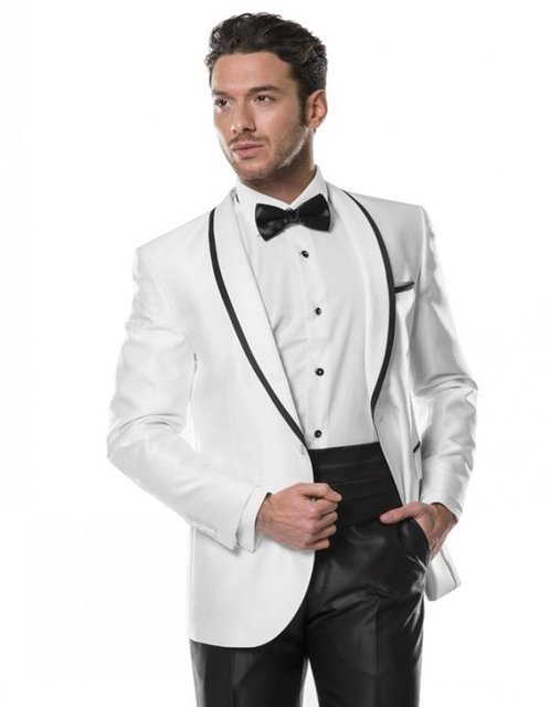 White Ivory Mens Tuxedos Wedding Suits For Men 2018 Shawl Lapel ...