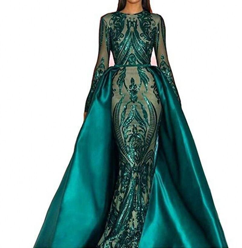 Robes de soirée élégantes à manches longues musulmanes vertes 2019 avec Train détachable Sequin Bling caftan marocain robe de soirée formelle de bal