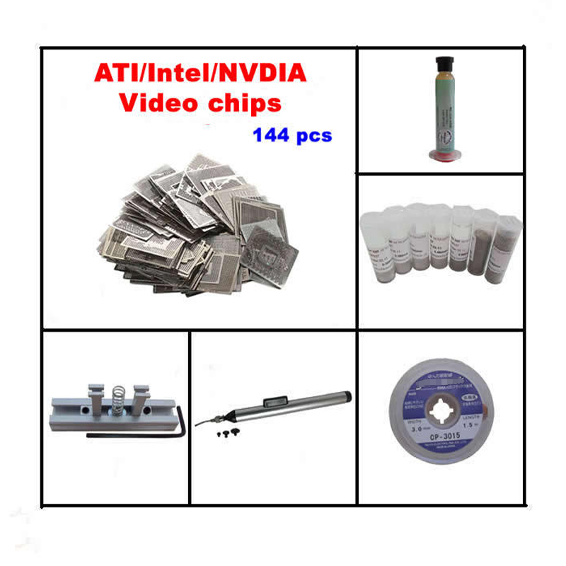 2018 Direct Heat Stencils 144pcs for INTEL NVIDIA ATI Video chips BGA reballing kit 5 in