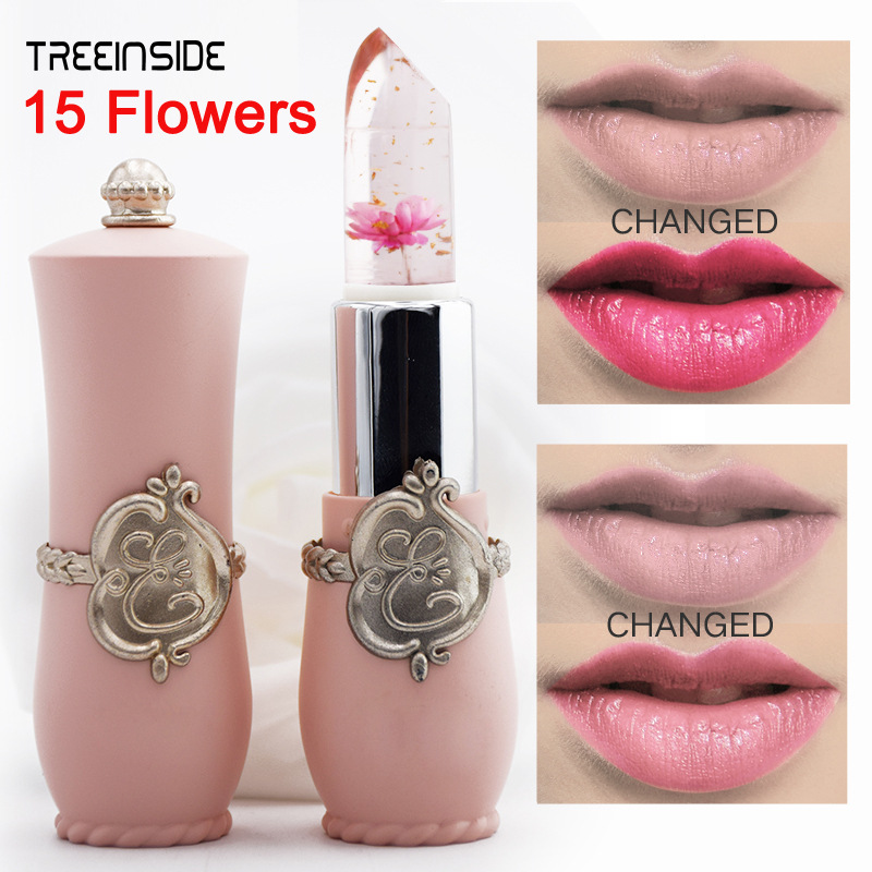 New Arrivals Waterproof Lip Stick Brand Cosmetics Long Lasting Temperature Color Change Jelly Lip Gloss with Flower 1