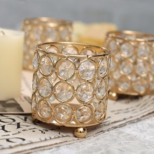 Cylinder Glass Tealight Candle Holders Metal Cup Crystal Stand Vases Decoration Centerpieces