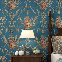 Retro garden flowers AB version of wallpaper 3D European style bedroom living room desktop background wallpaper roll Beibehang