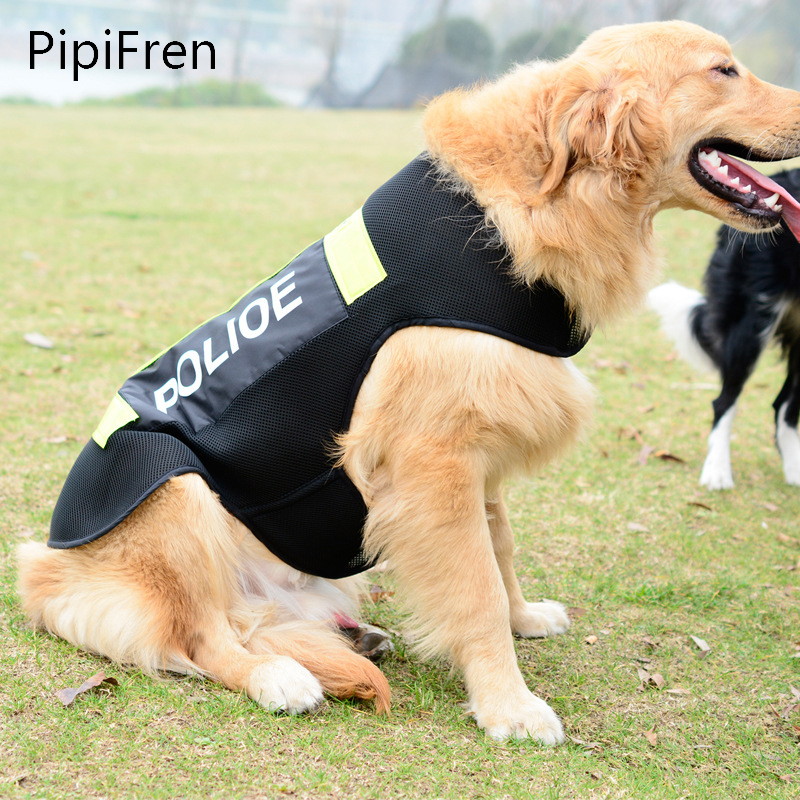 PipiFren Big Dogs Clothes Police Reflective Vest Cest For Pets Costume Dog Coats Clothing T Shirts hondenkleding Ropa perro