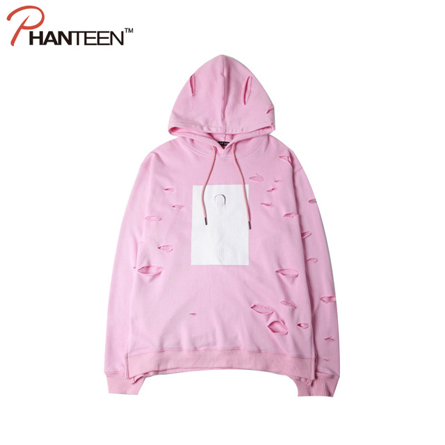 Brand Yeezus Kanye Style Pink Color Man Hoodie Ripped Hole Hooded Loose Streetwear Fashion Couple Clothes Casual Unisex Pullover