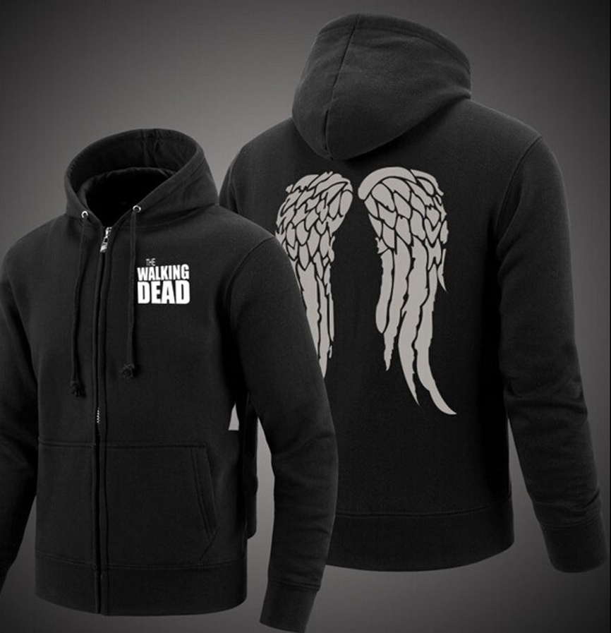 man bodybuilding Zombie Daryl Dixon Wings hooded 2019 winter men zipper fleece thicken Jacket Coat mma tracksuit sweatshirt down