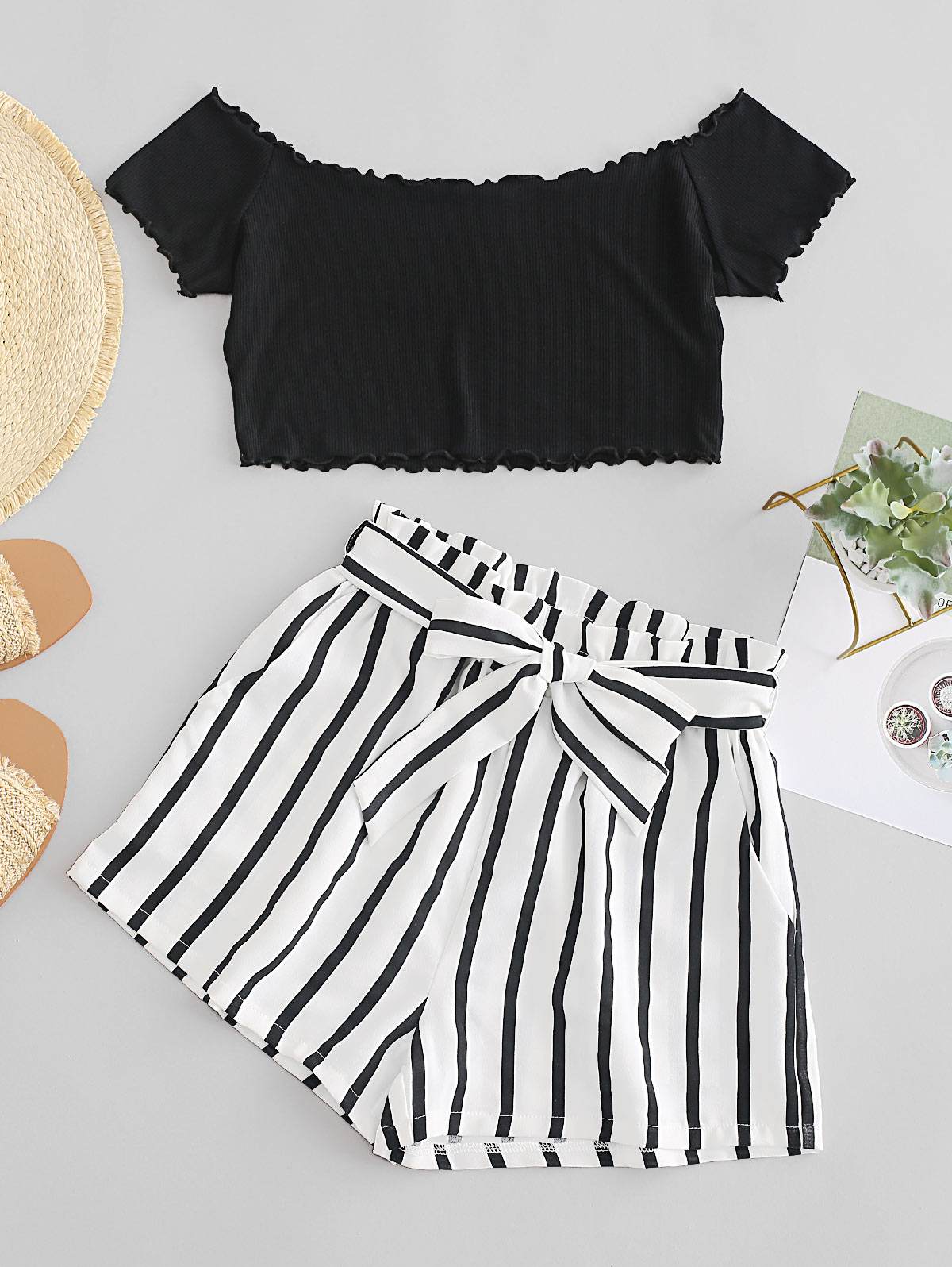 ZAFUL Womens Two Piece Outfit Off Shoulder Crop Top and Striped Shorts Set