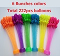 Hot 6 Bunches 222pcs single colors balloons Quick Ammo Water Balloons Bombs Outdoor Garden Fun Kids Party Toy
