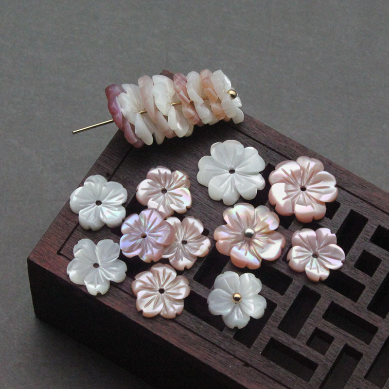 10Pcs 10mm-15mm Colorful White Natural Mother Pearl Shell Flower Shell Beads For Women Diy Earrings Jewelry Accessories Making