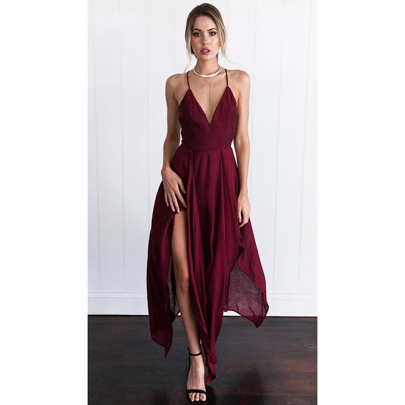 Simple Elegant Long Sleeve V Neck A Line Lace Top Satin: Sexy 2017 Wine Red Prom Dresses With V Neckline High Low