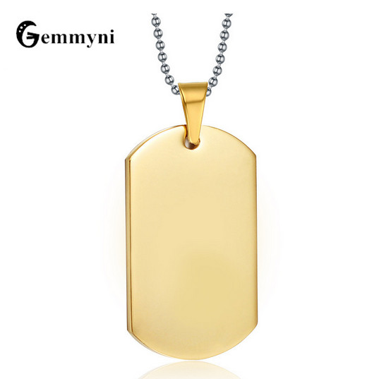 Vintage Simple Necklace Pendant Men Stainless Steel Gold Black Dog