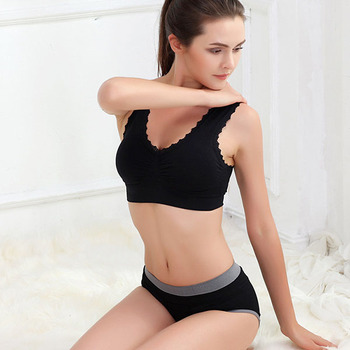Comfort Sports Bras Lace Trim Size Women Padded Wireless Yoga Gym Bra Clothing 6