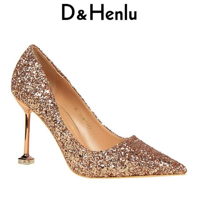 ee5871e00d {D&Henlu} 2018 Women Shoes Sexy Sequined Cloth Women's Glitter Pumps Party  Stiletto Pointed Toe Thin Heels Wedding Silver Shoe