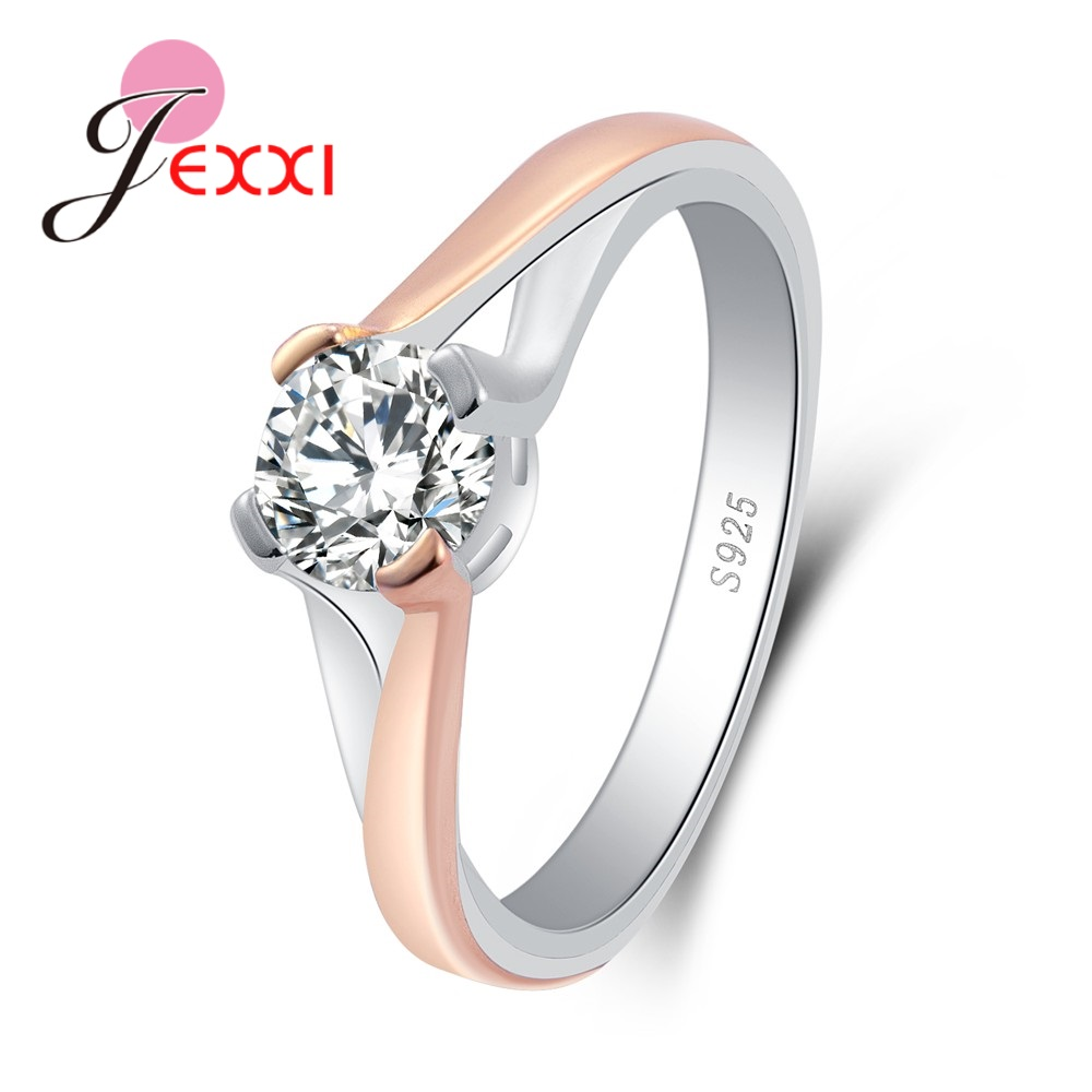 JEXXI Statement Round Shape Rings Fot Cute Women Pretty Good Engagement Accessories Real ...