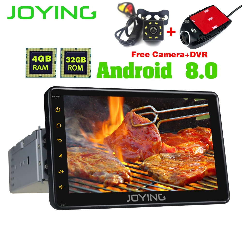 JOYING Single Din 7 Octa Core 4GB+32GB Head Unit Universal Android Car Radio Stereo GPS Nagivation Support OBD2 Cameras wifi