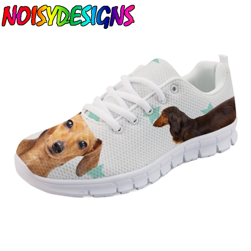 Lovely Animal Dachshund Dog Pattern Shoes Flats Women Luxury Brand Women's Casual Sneakers Breathable Zapatos Mujer