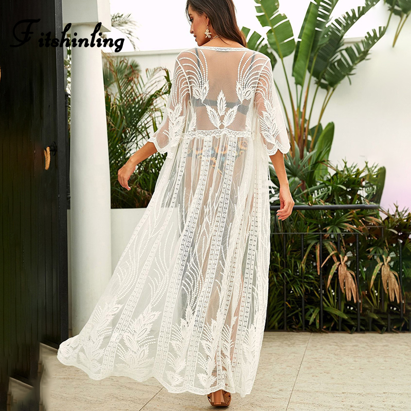 Fitshinling Embroidery Lace Sexy Sarong Beach Cover Up Swimwear Boho Holiday White Kimono Summer Transparent Saida de Praia Sale