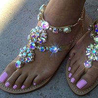 CHANGYUGE 2018 New Bohemian Women Sandals Casual Crystal Flat Heel Sandalias Rhinestone Women Shoes Thong Flip