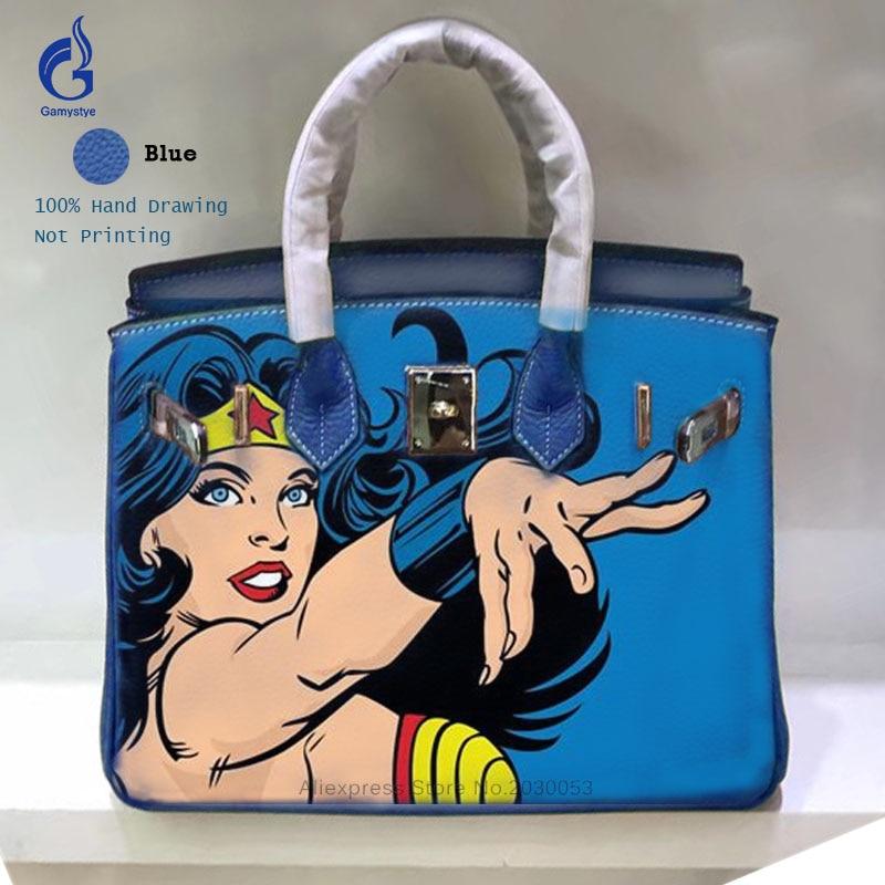 все цены на Handmade Drawing Art POP Girl Bag High Quality Togo Leather Top Handle Bags Women Genuine Leather Crossbody Bag Casual Totes онлайн