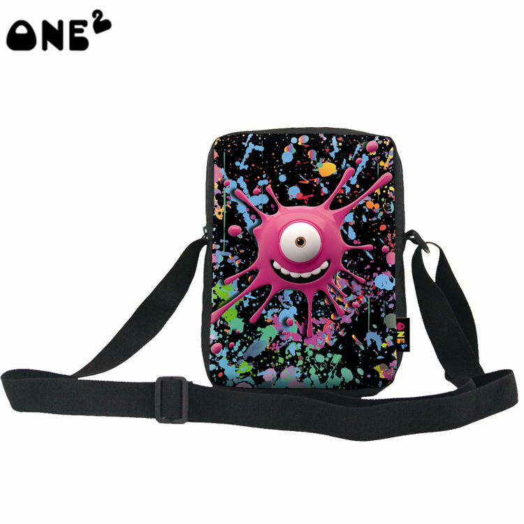 ONE2 Design unique colorful emoji monster single shoulder messenger bag for boy girl school student man women children children