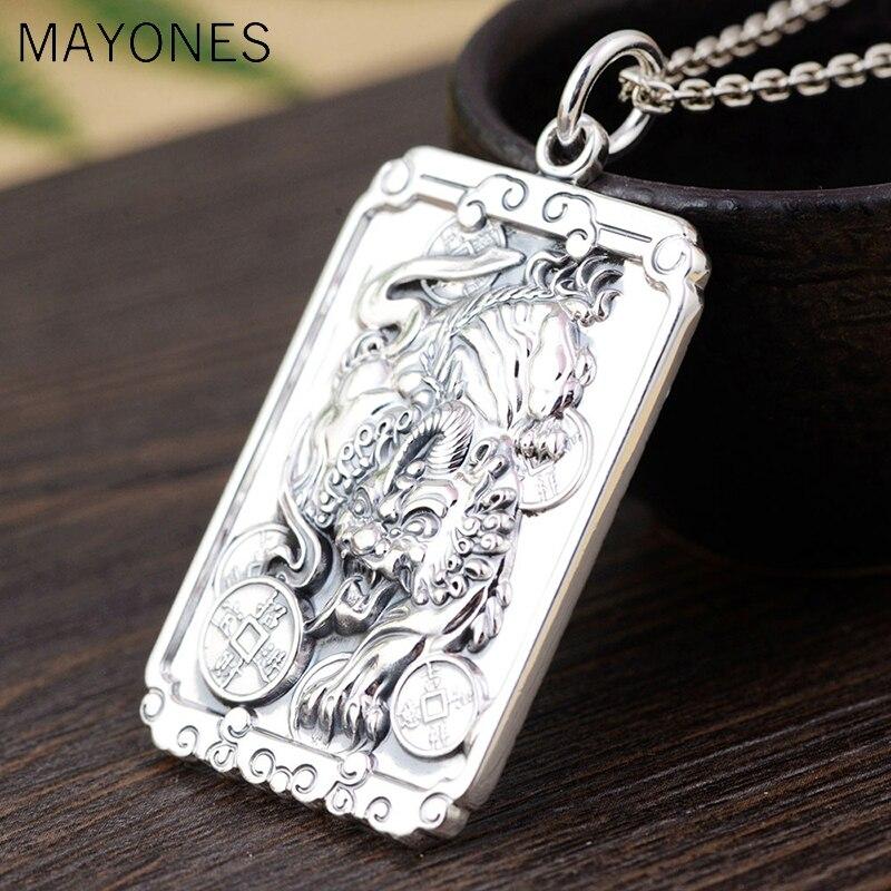 Real 999 Silver Pixiu Pendant Animal Coins Buddha Luck 100% Pure S999 Original Thai Silver Pendants for Women Men Jewelry Making