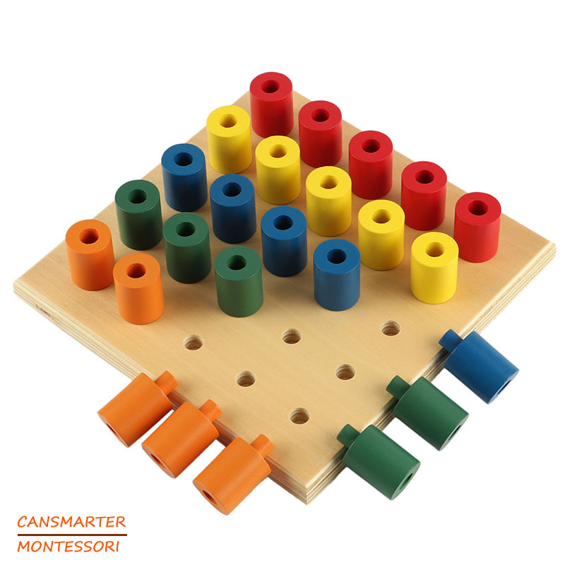 Montessori Toys Colorful Socket Cylinder Blocks Wood Toddler Wooden Toys For Children Development Educational