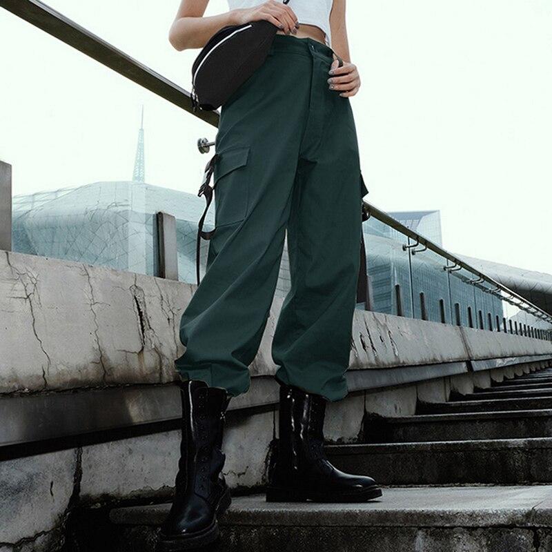 ADISPUTENT Streetwear Cargo Pants Women Casual Joggers Black High Waist Loose Female Trousers Korean Style Ladies Pants Capri 11