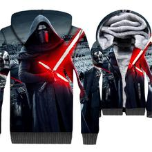 Classic star wars jackets coats men wool liner hip-hop jacket 2019 winter thick brand clothing male 3D printed hooded hoodies цена и фото