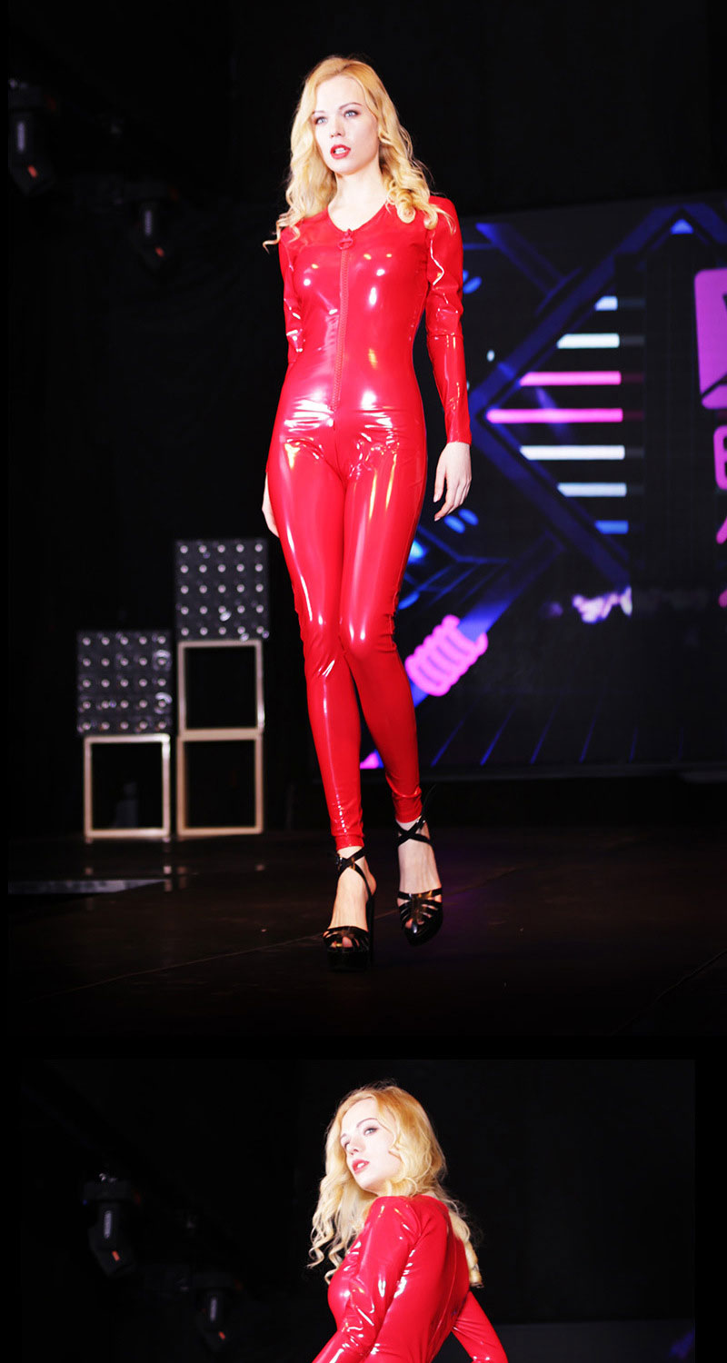 Sexy Women V Neck Bodysuit Shiny Full Leotard Bodysuit Pvc Latex Zipper Open Moto Biker Club Stage Wear Jumpsuit Plus Size F139 Women's Clothing