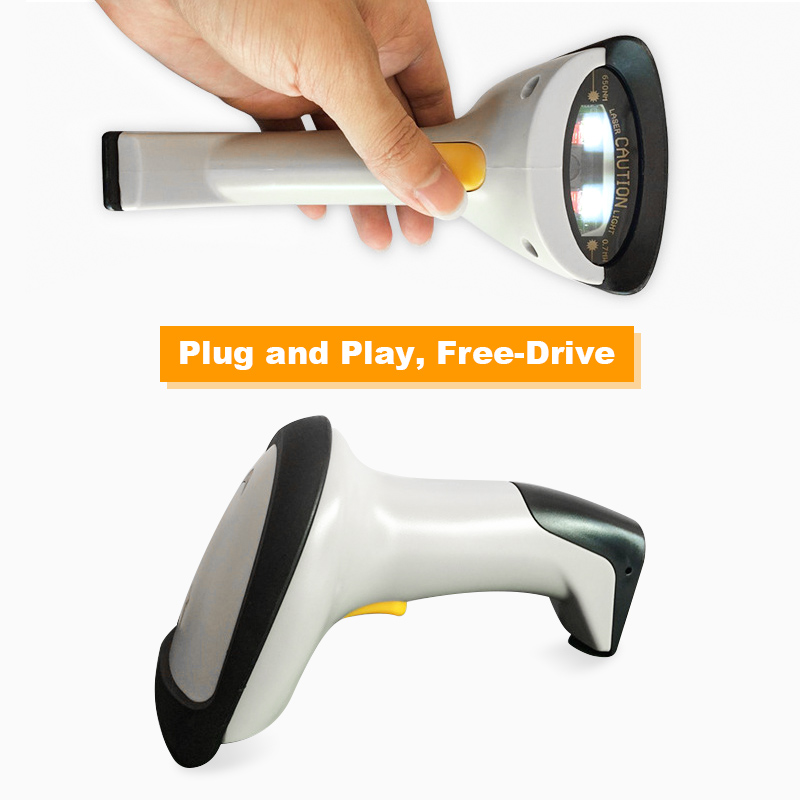 Wireless Barcode Scanner 433Mhz Cordless Handheld 1D 2D QR Bar Code Reader USB Receiver scanners for Supermarket Library Express bt handheld wireless 1d 2d qr barcode scanner bar code reader with usb receiver 2100 code storage capacity for pos pc android