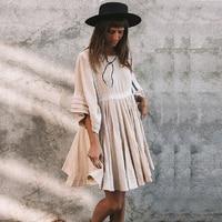 TEELYNN boho dresses Khaki cotton & linen solid dress o neck loose short summer dresses beach wear Gypsy women dress vestido