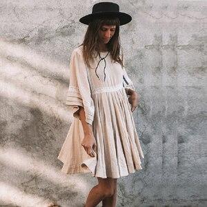 Image 2 - TEELYNN כותנה ופשתן טוניקת מיני שמלות boho מוצק שמלת o צוואר loose קצר קיץ שמלות חוף שמלה צוענית נשים vestidos
