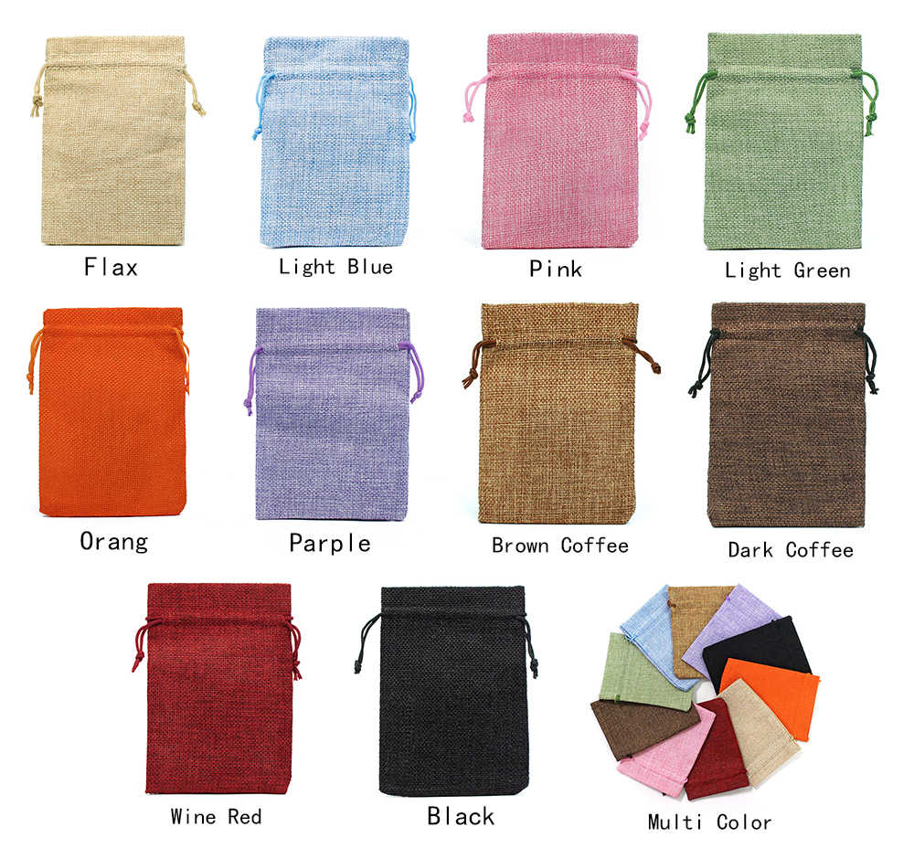 50 ชิ้น/ล็อตสายรัดธรรมชาติ Burlap ถุงปอกระเจาของขวัญกระเป๋าขนาดบรรจุภัณฑ์เครื่องประดับงานแต่งงานกระเป๋า Candy กระเป๋าที่กำหนดเองโลโก้