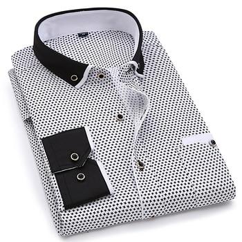 Fashion Print Casual Men Long Sleeve Shirt Stitching Fashion Pocket Design Fabric Soft Comfortable Men Dress Slim Fit Style 8XL 2