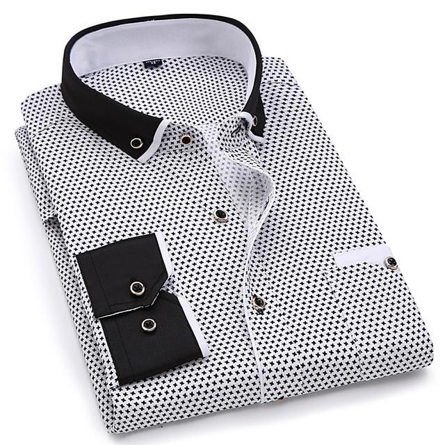 Fashion Print Casual Long Sleeve Shirt Stitching Pocket Design Fabric Soft Comfortable Slim Fit 2