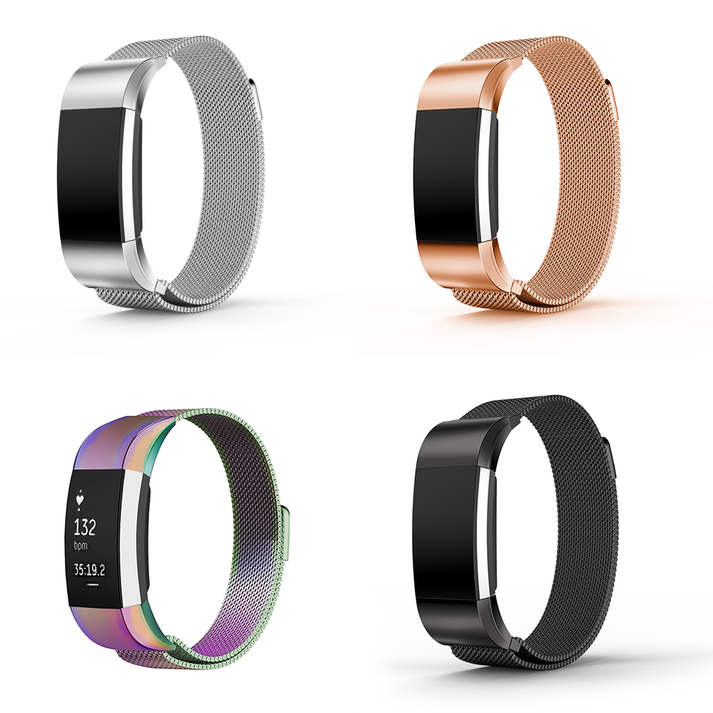 Us 524 32 Offhot Selling For Fitbit Charge 2 Replacement Magnetic Loop Strap Stainless Steel Wrist Band Silver Black Colorful Rose Gold Optio In