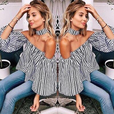 Angemessen Mode Sexy Frauen Beiläufige Lose Schulterfrei Streifen Hemd Tops