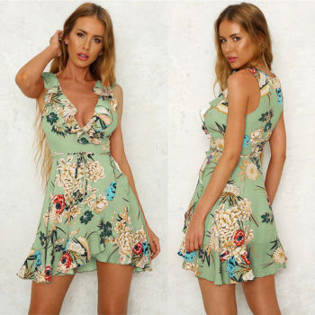 Boho Sweet Summer Women Ladies Dress Sundress 3 Style Ruffles Sleeveless Deep V-Neck Floral Print A-Line Mini Dress 4