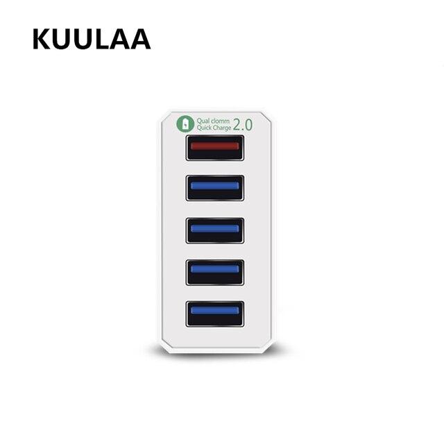 Kuulaa Quick Charge 2.0 5-Порты и разъёмы USB EU Зарядное устройство, poweriq питания Порты и разъёмы Скорость 5 для iphone 6 x Plus для Xiaomi