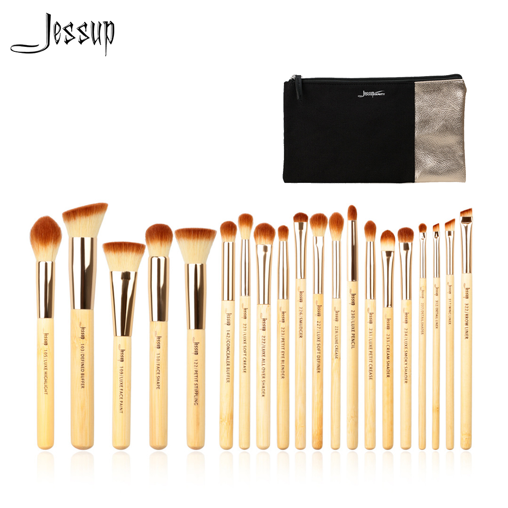 Jessup Brand 20pcs Beauty Bamboo Professional Makeup Brushes Set Beauty tool Make up Brush T145 & Cosmetics Bags Women Bag CB002