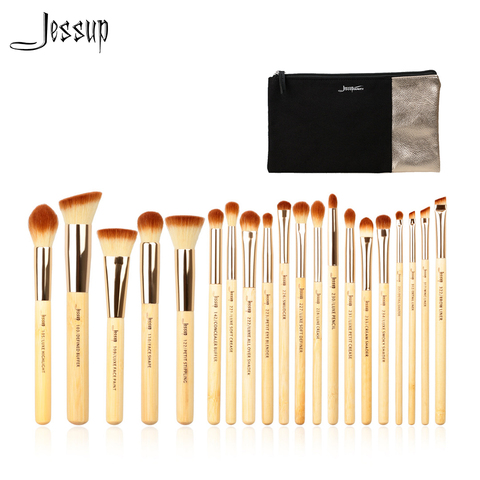 Jessup Brand 20pcs Beauty Bamboo Professional Makeup Brushes Set Beauty tool Make up Brush T145 & Cosmetics Bags Women Bag CB002 Pakistan