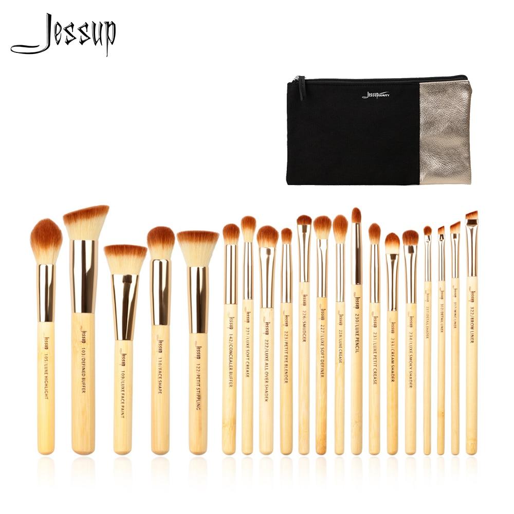 Jessup Merek 20 Pcs Kecantikan Bambu Set Kuas Makeup Profesional Make Up Alat T145 Kosmetik Tas Wanita Cb002 Di Mata Aplikator Dari