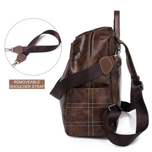 Image 2 - Women Vintage Backpacks Multi function High Quality Leather Backpack For Girls Large Female Bag School Shoulder Bags 2020 XA266H