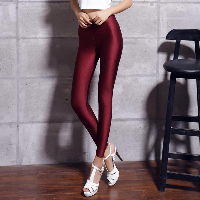 Women Solid Color Fluorescent Shiny Pant Leggings Spandex Shinny Elasticity Casual Trousers 31