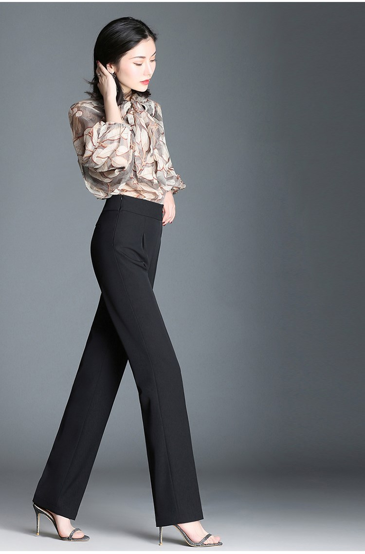 2019 Summer Fashion Women Ol High Waist Slim   Pants   Plus Size Solid Color Wide Leg   Pants   Loose Zippers Straight Trousers