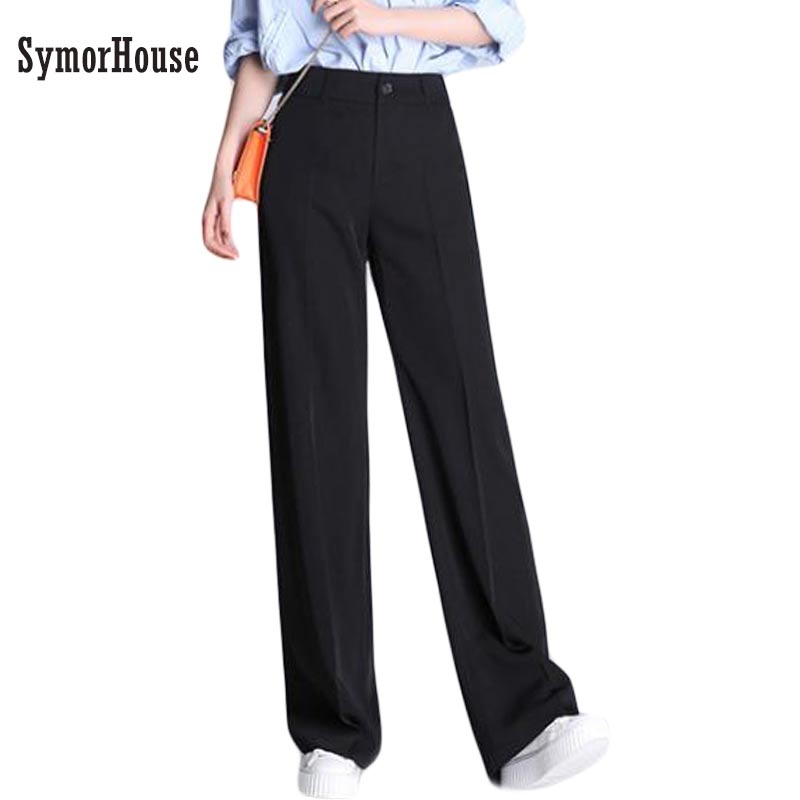 2019 Woman Trousers Spring Autumn Casual Loose Plus Size Black Long Pants Fashion High Waist Office Suit Wide Leg Pants XXXXL