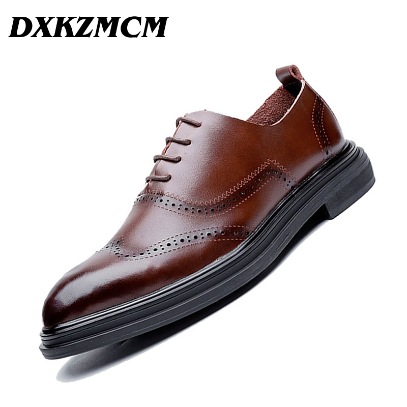 DXKZMCM Genuine Leather Dress Men Shoes Lace Up Business Wedding Formal Flats Shoes For Men men genuine flats leather shoes luxury business brown black lace up dress shoe men large size wedding shoes 899